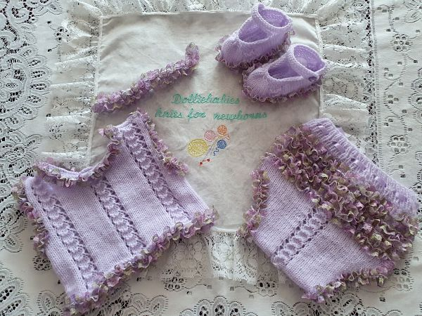 Vest and Knickers with knitting in lace knitting pattern