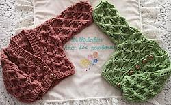 Knitting Pattern No.92 - Premature to 6 Months Autumn Leafy Lace Cardigans