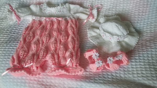 Pattern 38, baby girls knitted leaf romper