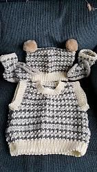 Knitting Pattern No.64 Boys Tank Top With Tea Bag Hat & Bootees
