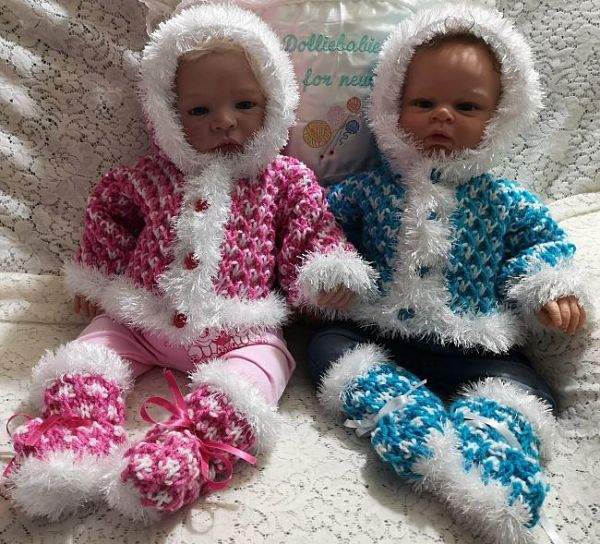 """Knitting Pattern No.73 Chunky Knit Hoodie for 22"""" Reborn or 3 Month Baby"""