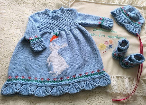 Knitting Pattern No.74 Prem-3 Months Bunny Dress Set