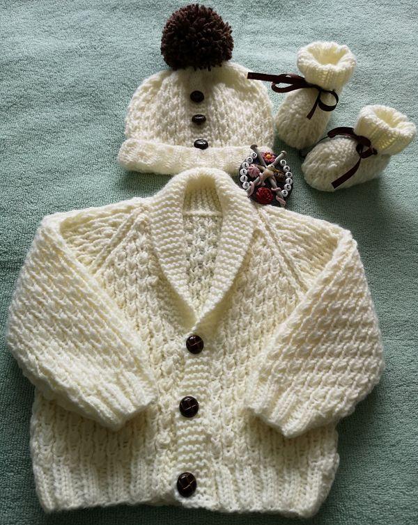 Premature to 3 Month Boys Shawl Collared Cardigan Set Knitting Pattern