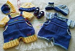 Knitting Pattern No.78 - Boy's & Girls Dungaree Shorts Set