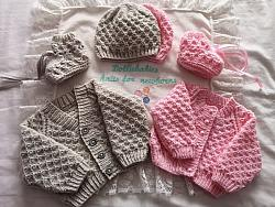 Knitting Pattern No.82 - Premature-3 Month Waffle Stitch Cardigan Sets