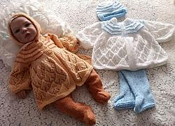 Knitting Pattern No.91 - Boy's or Girl's Lacy Matinee Set with Footies