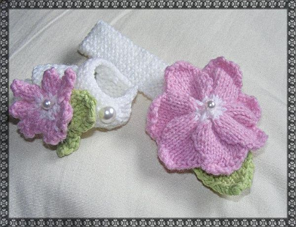 """Knitting Pattern No.37 Basic headband & Sandals with knitted flowers and leaves for prem-3 month baby or 15-22"""" Reborn"""