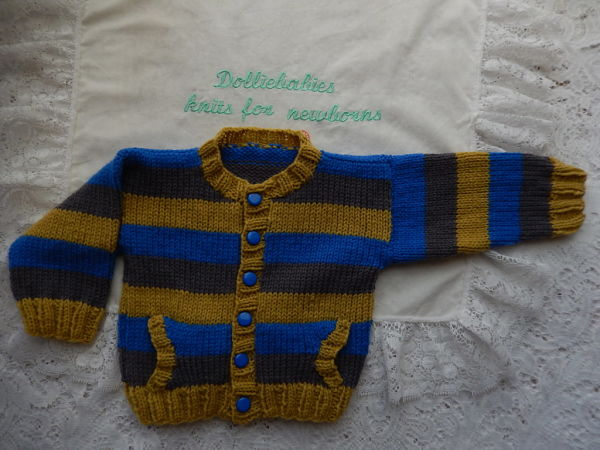 Knitting Pattern No.46 Prem-3 months Boy's Cardigan with Pockets