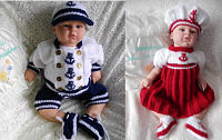 Knitting Pattern 36 & 48 Boy & Girl Sailor Sets PDF ONLY