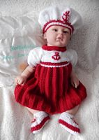 Knitting Pattern No.48 Preemie/0-3 Month Sailor Girl Dress