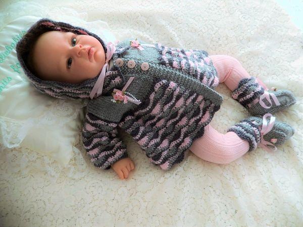 Cro-Knit 1 Prem-3 Month Girl's Matinee Set