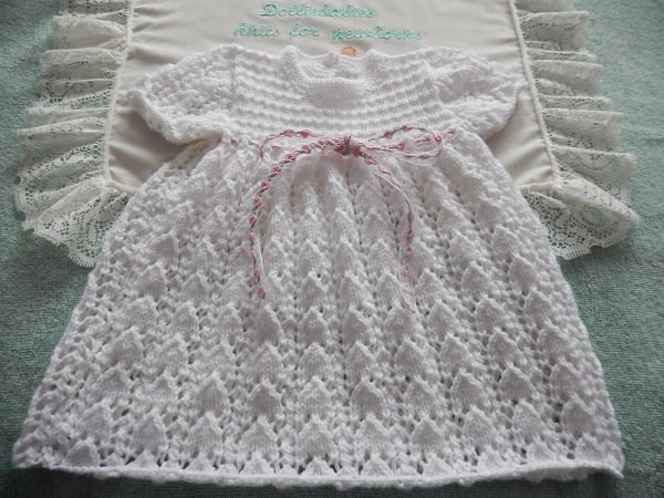 "Knitting Pattern No.50 Premature 3lb-3 Months Lacy Dress Set or 15-22"" Reborn Doll"