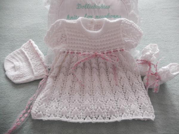 "Knitting Pattern No.50 Premature 3lb-3 Months Lacy Dress Set or 15-22"" Reborn Doll"