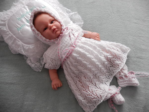 Lacy baby dress set knitting pattern