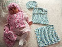 Knitting Pattern No.51 Newborn-6 months Bib, Beanie & Comforter Set