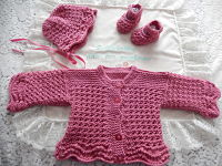 Knitting Pattern No.53 Premature 3lb - 3 Months Girls Lacy Cardigan Set