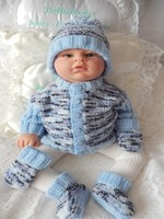 Knitting Pattern No.60 - Boys Premature - 3 month ribbed sleeve cardigan set