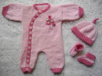 Knitting Pattern No.11 Newborn Side Buttoning Romper Set