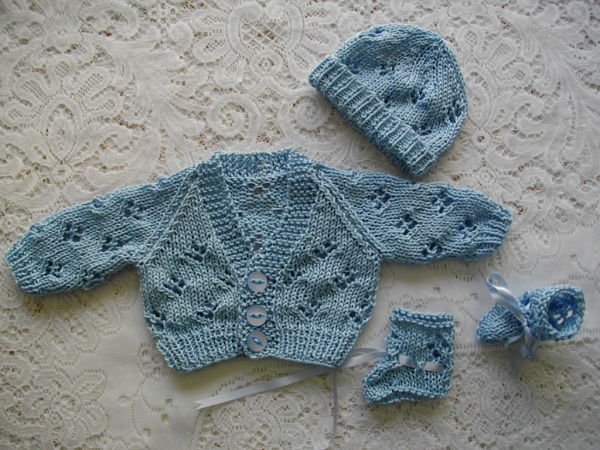 Knitting Pattern No.15 Premature Lacy Cardigan, Hat & Bootee Set