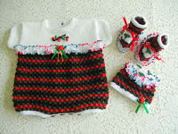 Knitting Pattern No.16DBRW Prem - 3 Month Size Christmas Romper Set