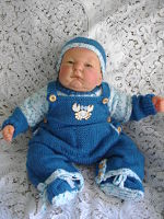 Knitting Pattern No.18DBRW Unisex 0-3 Month Dungaree Set