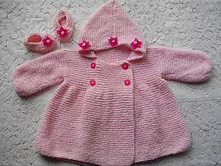 Knitting Pattern No.17 Girl's 0-3 Month Double Breasted Coat & Shoes
