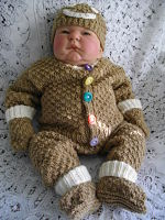 Knitting Pattern No.19 Boy's 0-3 Month Size Gingerbread Man Outfit