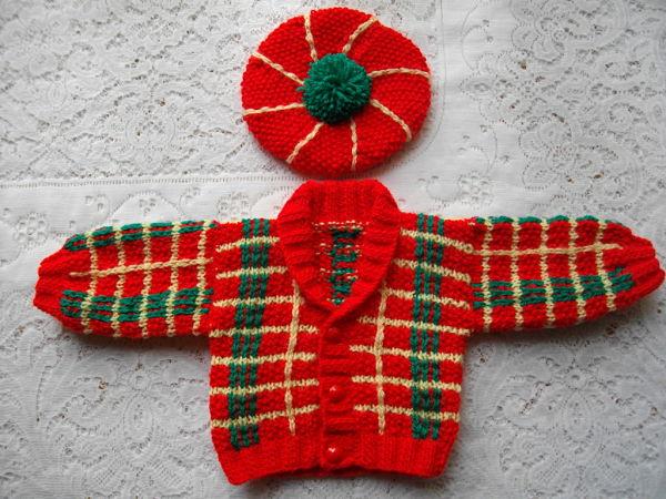 Knitting Pattern No.20 Newborn Tartan Jacket & Tam O Shanter
