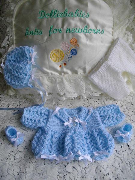"Knitting Pattern No.27 Micro Preemie 10"" Dress Set"