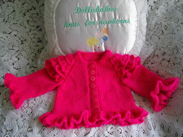 Knitting Pattern No.30 Micro Preemie/0-3 Months Girl's Frilly Cardigan