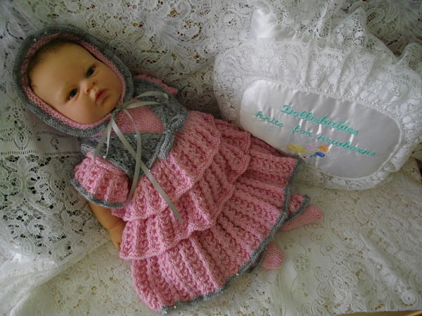 "Knitting Pattern No.34 Preemie/0-3 Months 15-22"" Reborn Rara Dress"