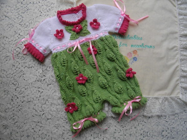 "Knitting Pattern No.38 Romper with knitted flowers and leaves for prem-3 month baby or 15-22"" Reborn"