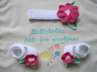"Knitting Pattern No.37 Basic headband & Sandals with knitted flowers and leaves for prem-3 month baby or 15-22"" Reborn"