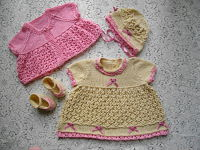 "Knitting Pattern No.39 Dress & Jacket Set for prem-3 month baby or 15-22"" Reborn"