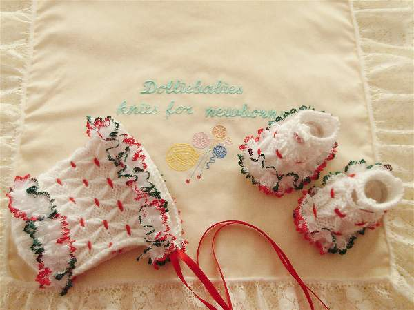 Knitting Pattern No.57 Prem-3 Month Girls Smocked Bonnet & Shoes