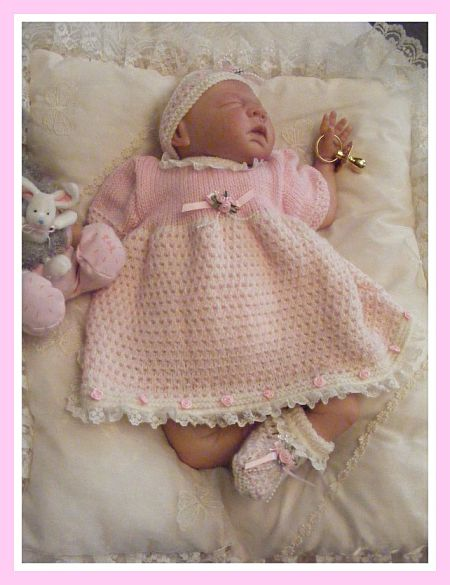 "Knitting Pattern No.22 Newborn Girls or 18-20"" Reborn Doll Dress Set"