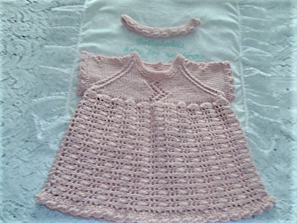 Cro-Knit 2 Prem - 3 Month Girl's Dress and Headband Set
