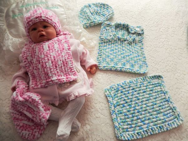 Knitting Pattern No51 Newborn 6 Months Bib Beanie Comforter Set