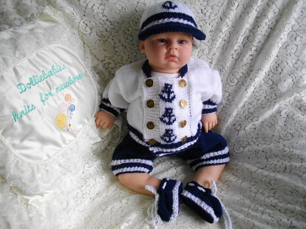 247a4dc5b Knitting Pattern No.36 Preemie-03 Months Boys Sailor Suit