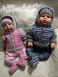 knitting pattern 72 boy and girl three colour hooded jacket