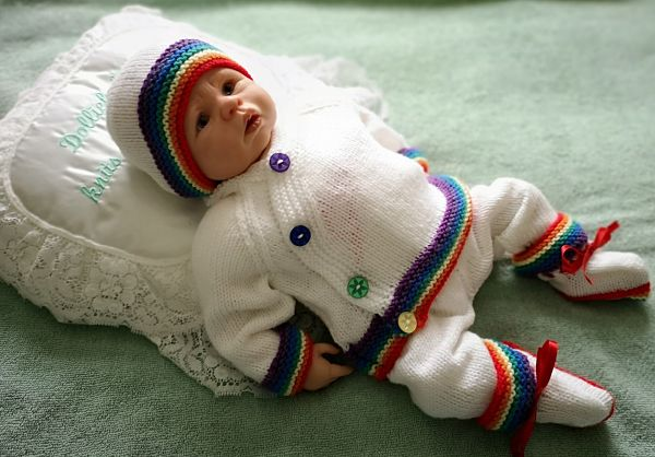 knitting pattern 076 boys kimono style rainbow cardigan set