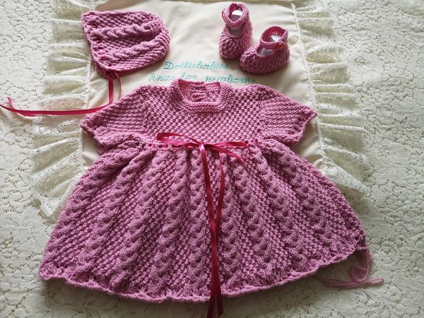 Knitting Pattern 077 Girls cabled dress set