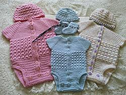 crochet pattern 02 unisex vest beanie hat and bootee set