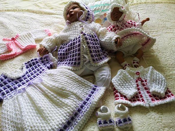 knitting pattern book 3 girls layette set
