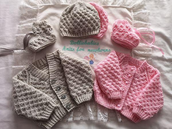 knitting pattern 082 waffle stitch cardigan sets