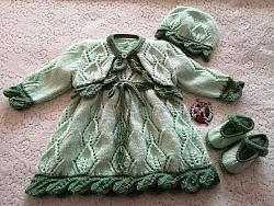 knitting pattern 105 Leafy Lace Dress Set