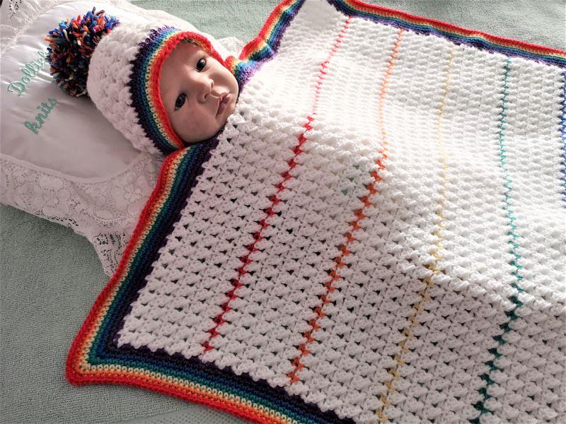crochet pattern 03 rainbow baby blanket and hat
