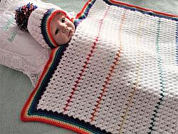 crochet pattern 03 rainbow baby blanket and hat