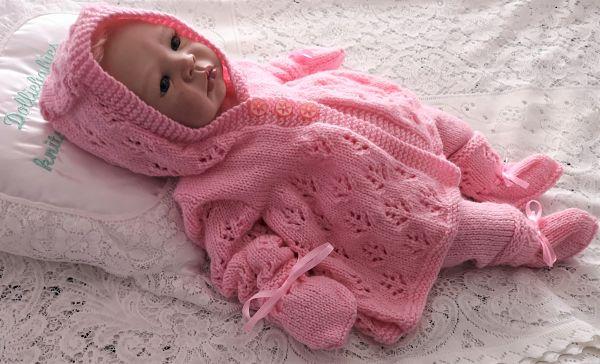 Knitting Pattern 095 Unisex hooded pram matinee set