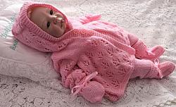 Knitting Pattern 95 Unisex hooded pram matinee set